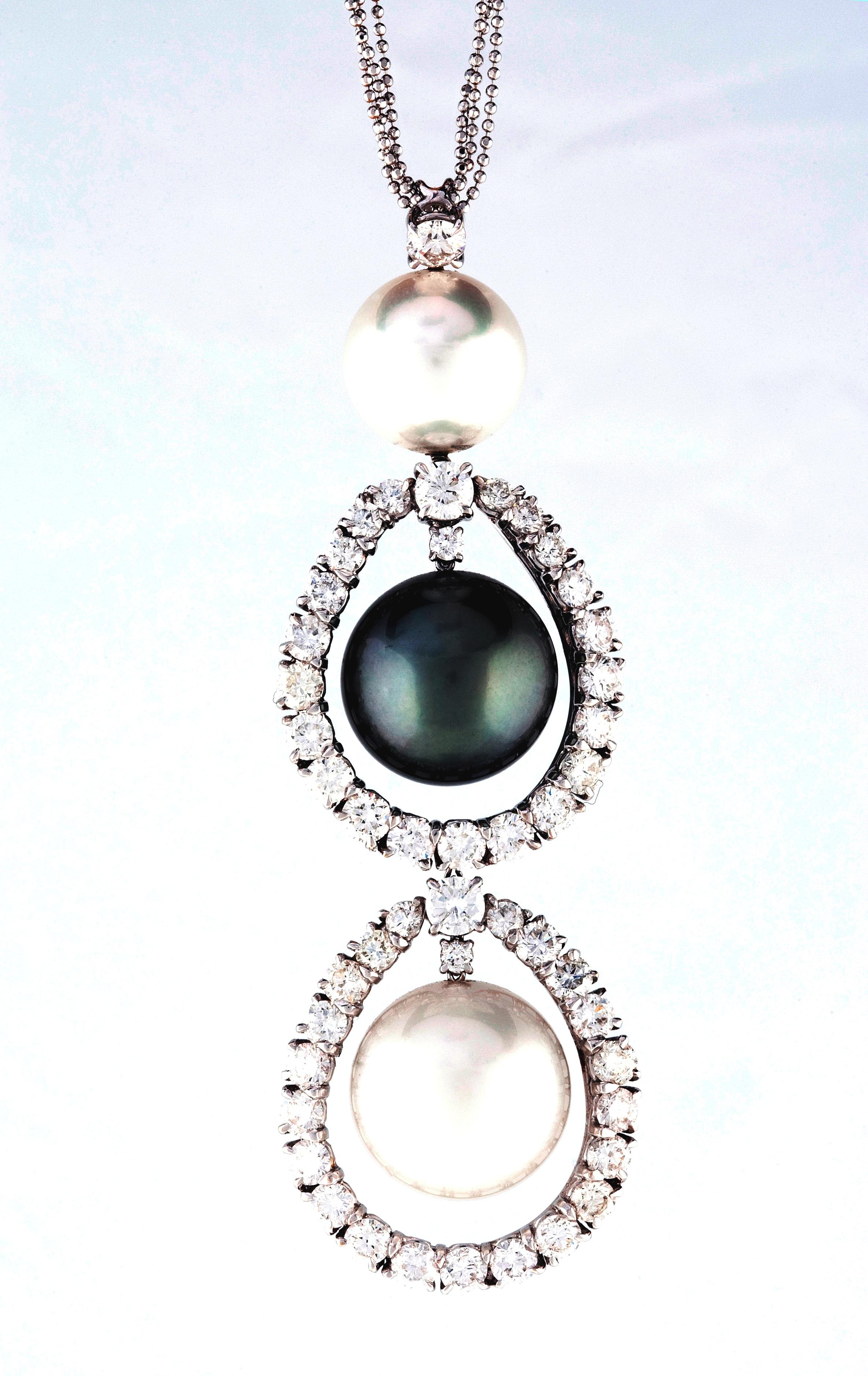 gyémánt és gyöngy medál